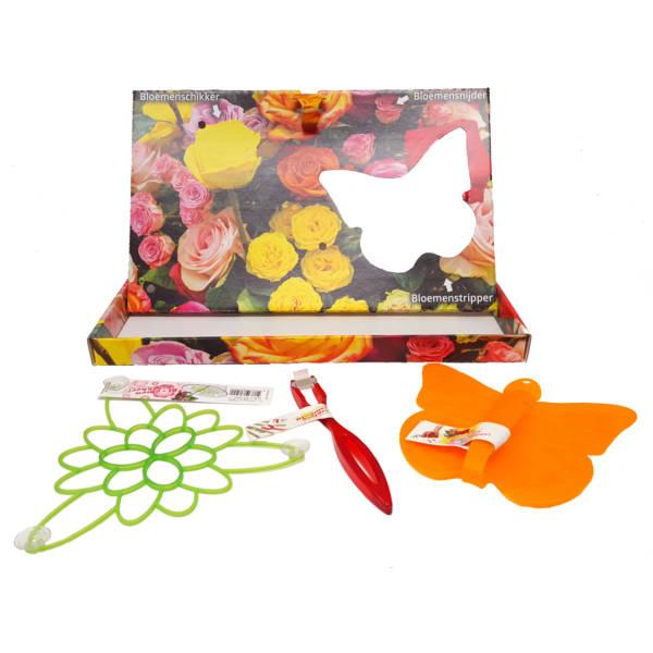 Een afbeelding van de Flower Care Box, met daarin een bloemensnijder en een bloemenstripper