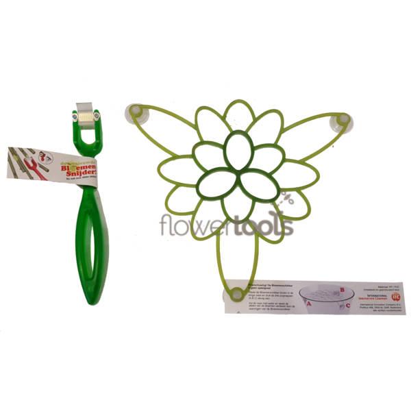 Combinatie van de groene bloemensnijder en bloemenschikker